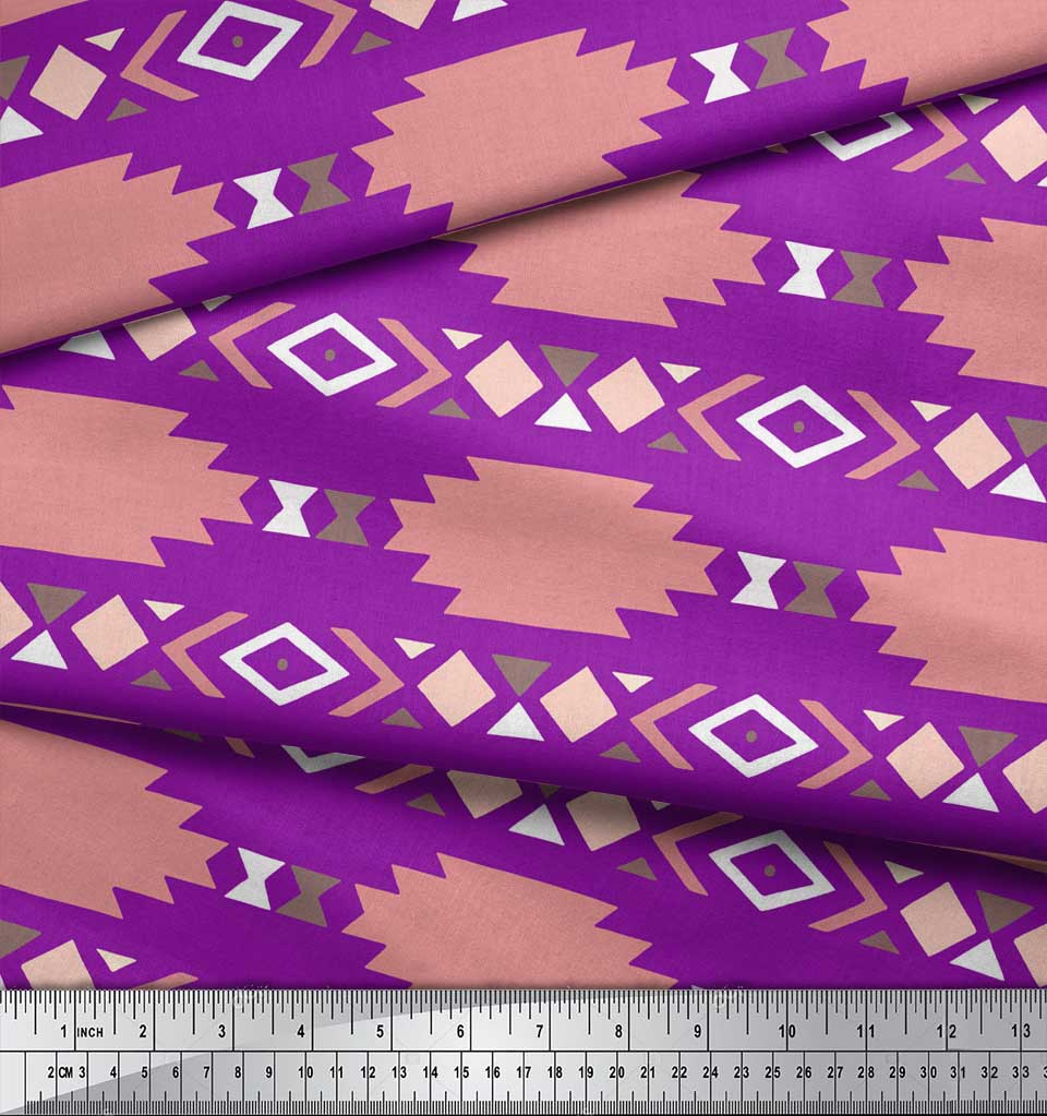 Soimoi-Purple-Cotton-Poplin-Fabric-Aztec-Geometric-Print-Fabric-8IO thumbnail 3