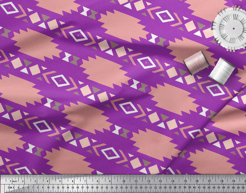 Soimoi-Purple-Cotton-Poplin-Fabric-Aztec-Geometric-Print-Fabric-8IO thumbnail 4