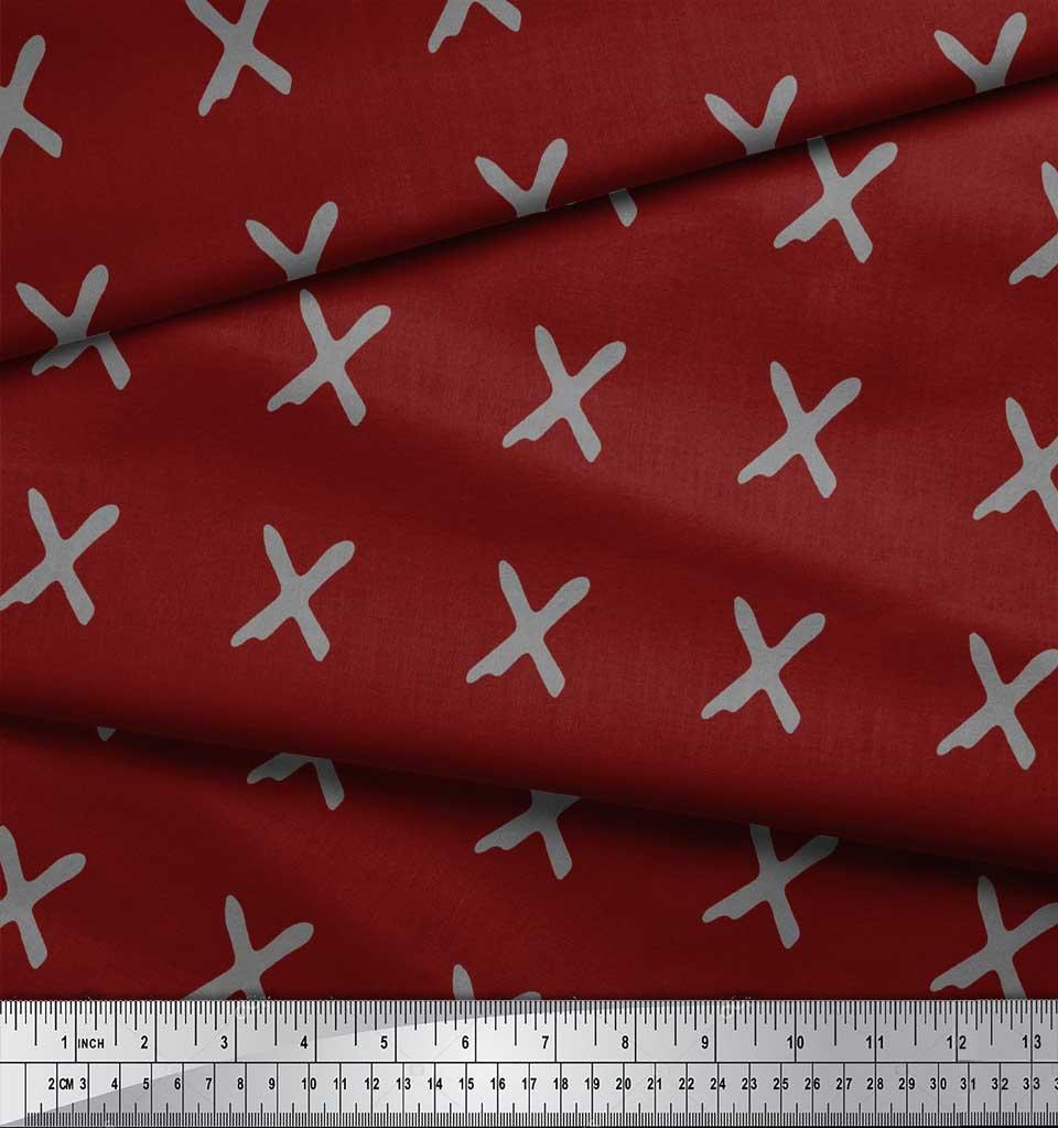 Soimoi-Red-Cotton-Poplin-Fabric-Cross-amp-Geometric-Printed-Craft-RYL thumbnail 3