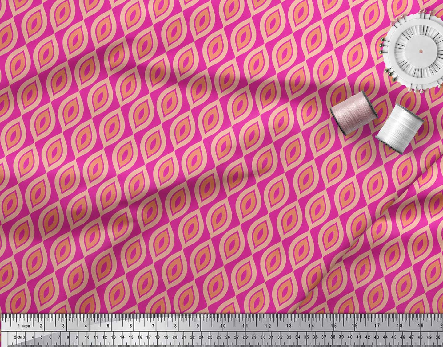 Soimoi-Pink-Cotton-Poplin-Fabric-Ogee-Geometric-Print-Fabric-by-2gU thumbnail 3