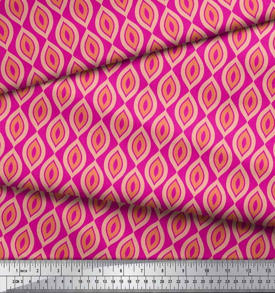 Soimoi-Pink-Cotton-Poplin-Fabric-Ogee-Geometric-Print-Fabric-by-2gU thumbnail 4