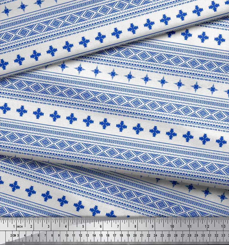Soimoi-Blue-Cotton-Poplin-Fabric-Aztec-Geometric-Printed-Fabric-YBk thumbnail 4