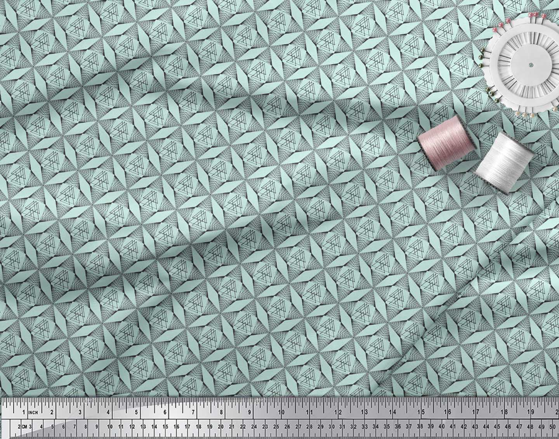 Soimoi-Green-Cotton-Poplin-Fabric-Triangle-Geometric-Printed-Craft-6KR thumbnail 3
