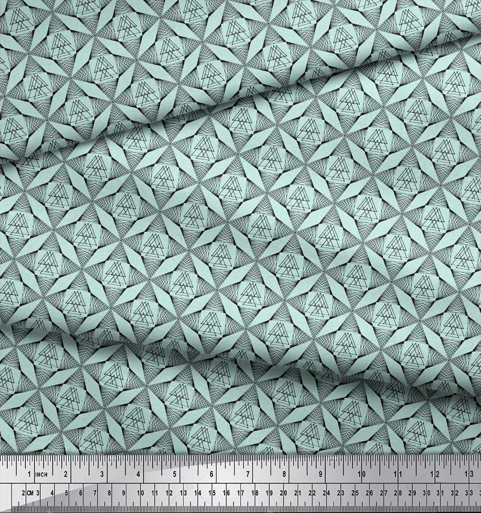 Soimoi-Green-Cotton-Poplin-Fabric-Triangle-Geometric-Printed-Craft-6KR thumbnail 4