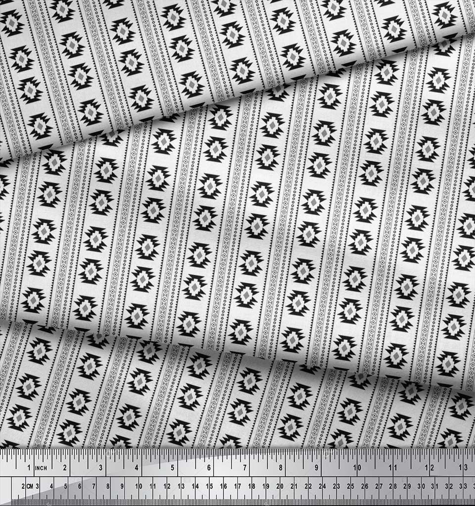 Soimoi-Black-Cotton-Poplin-Fabric-Aztec-Geometric-Printed-Fabric-A38 thumbnail 4