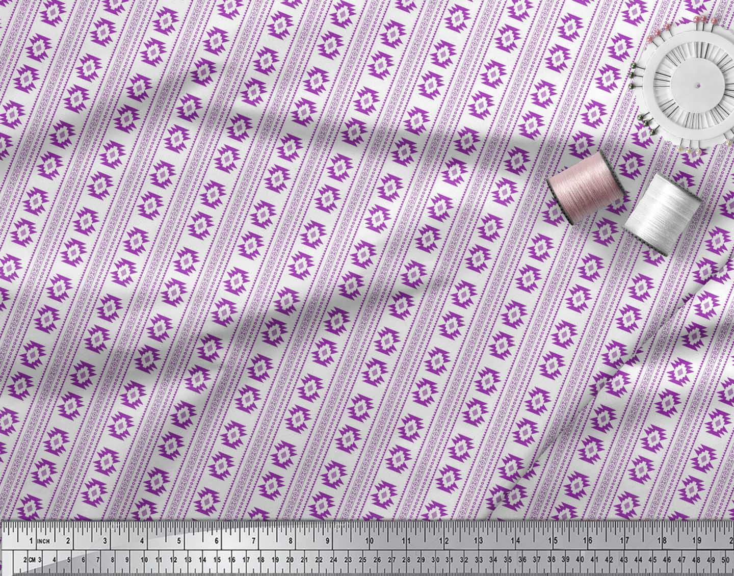 Soimoi-Purple-Cotton-Poplin-Fabric-Aztec-Geometric-Print-Fabric-EWx thumbnail 3