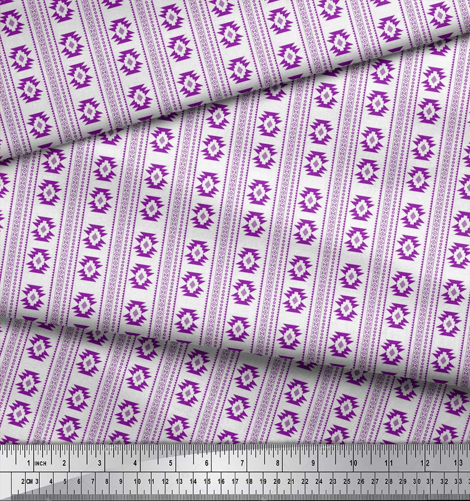Soimoi-Purple-Cotton-Poplin-Fabric-Aztec-Geometric-Print-Fabric-EWx thumbnail 4