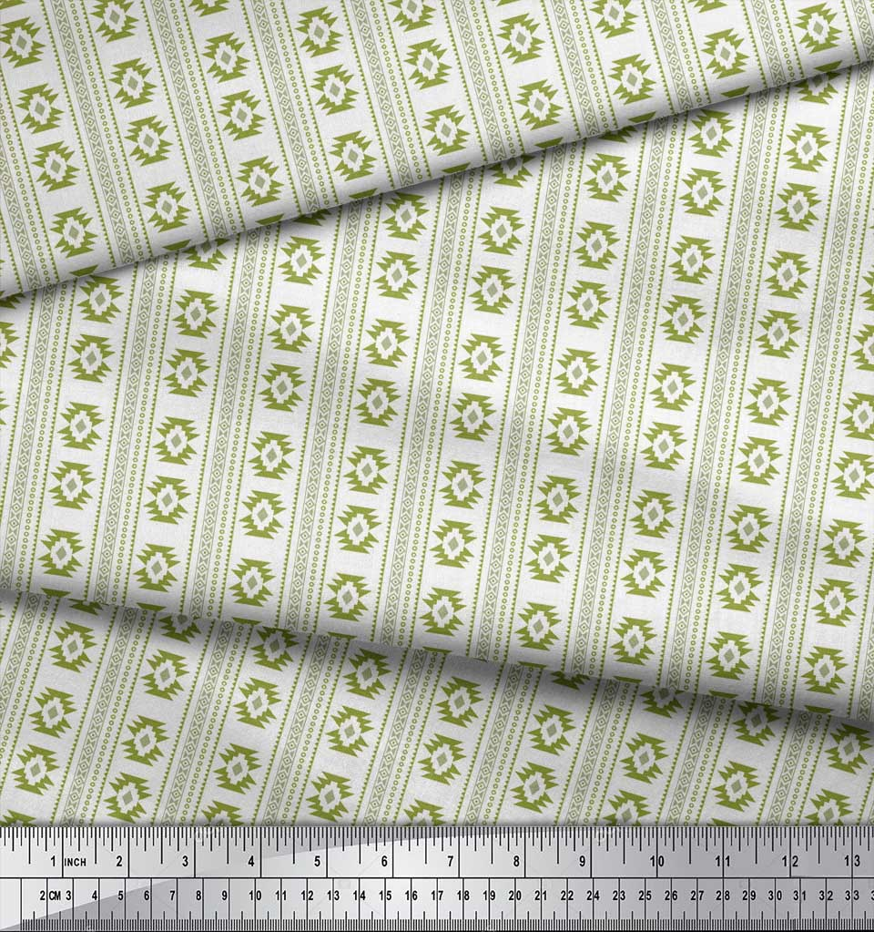 Soimoi-Green-Cotton-Poplin-Fabric-Aztec-Geometric-Print-Fabric-by-LeV thumbnail 3