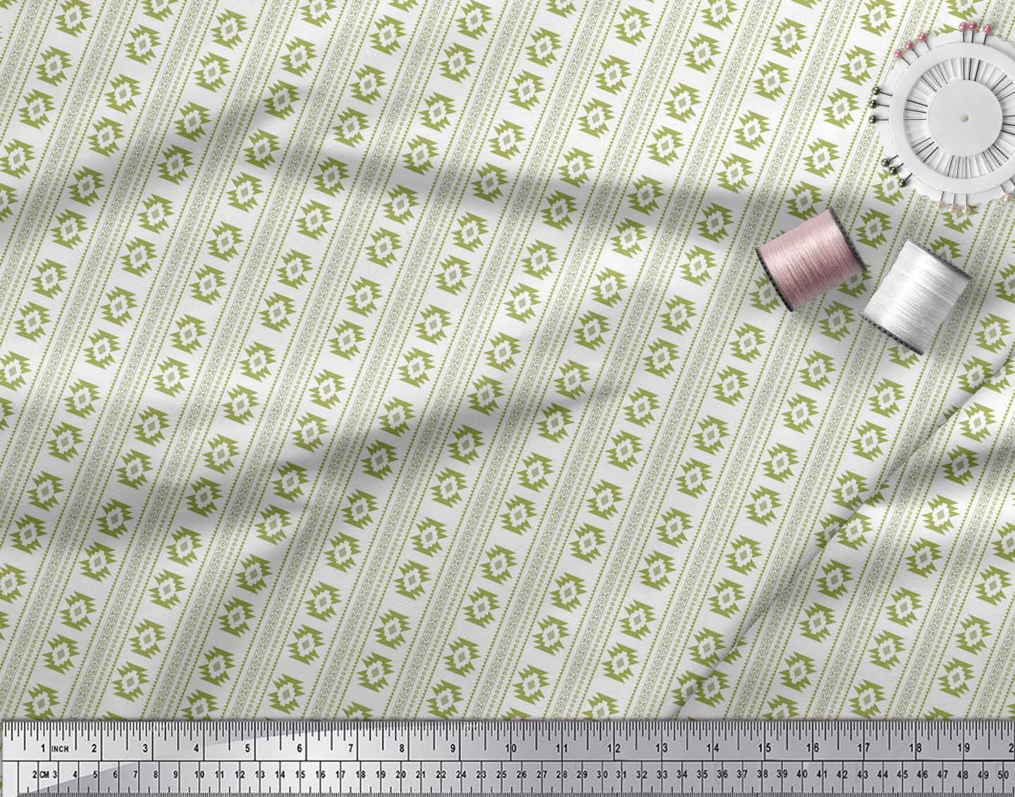 Soimoi-Green-Cotton-Poplin-Fabric-Aztec-Geometric-Print-Fabric-by-LeV thumbnail 4