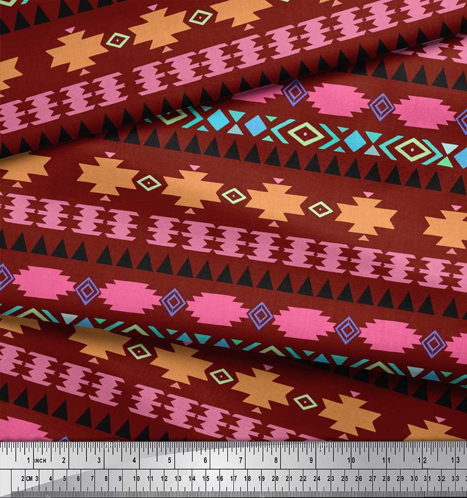 Soimoi-Red-Cotton-Poplin-Fabric-Aztec-Geometric-Print-Fabric-by-TKE thumbnail 3