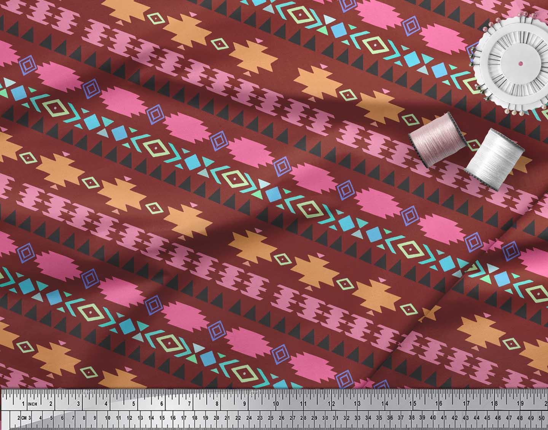 Soimoi-Red-Cotton-Poplin-Fabric-Aztec-Geometric-Print-Fabric-by-TKE thumbnail 4