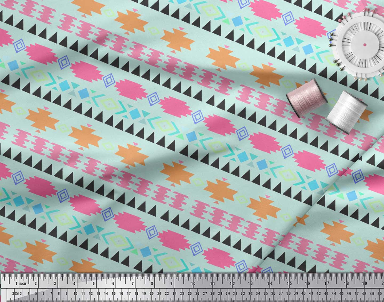 Soimoi-Green-Cotton-Poplin-Fabric-Aztec-Geometric-Decor-Fabric-Printed-3yW thumbnail 3