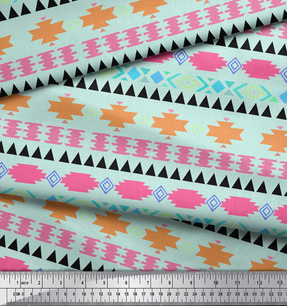 Soimoi-Green-Cotton-Poplin-Fabric-Aztec-Geometric-Decor-Fabric-Printed-3yW thumbnail 4