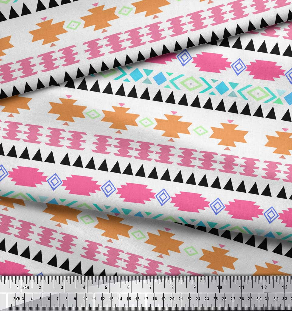 Soimoi-White-Cotton-Poplin-Fabric-Aztec-Geometric-Print-Fabric-by-YOw thumbnail 4