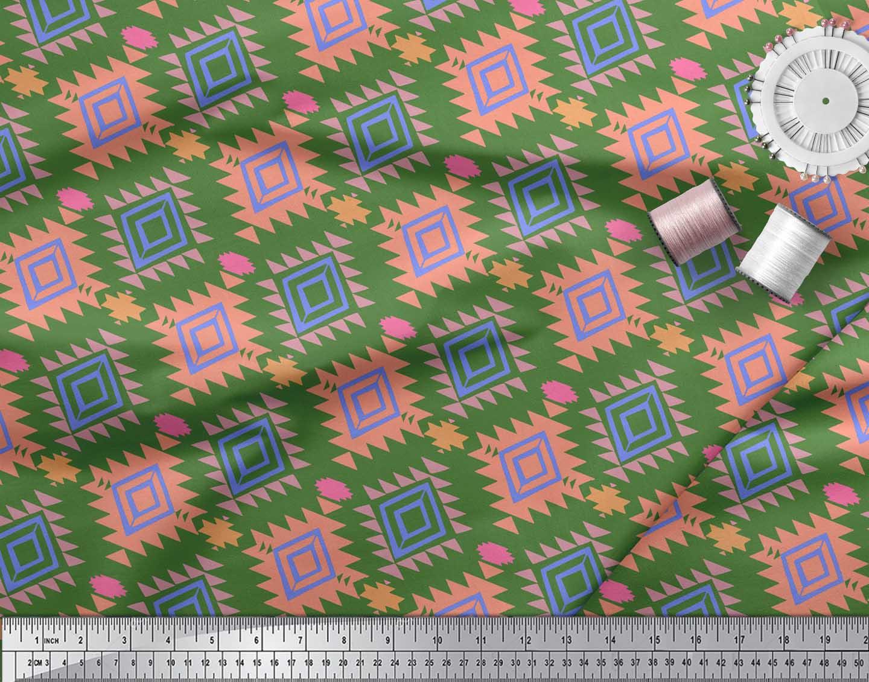 Soimoi-Green-Cotton-Poplin-Fabric-Diamond-Geometric-Fabric-Prints-H3I thumbnail 3
