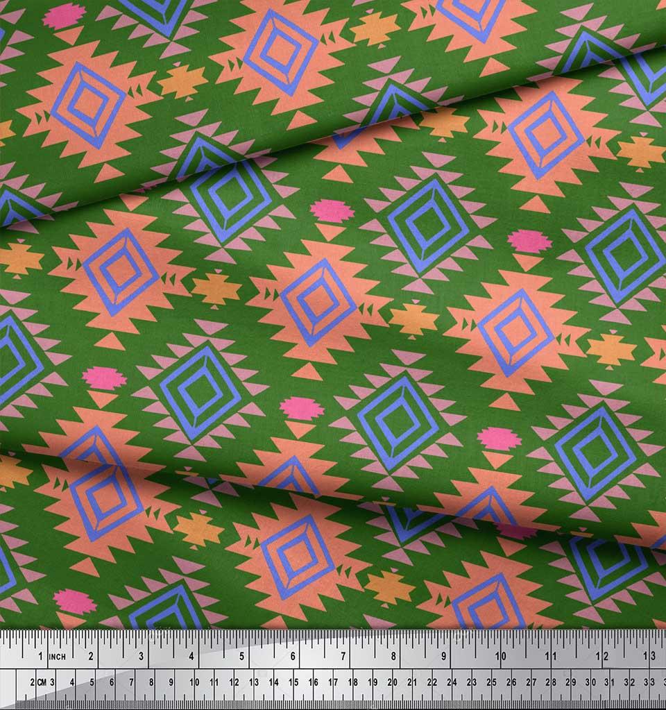 Soimoi-Green-Cotton-Poplin-Fabric-Diamond-Geometric-Fabric-Prints-H3I thumbnail 4
