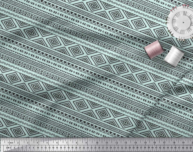 Soimoi-Green-Cotton-Poplin-Fabric-Aztec-Geometric-Printed-Craft-aCP thumbnail 3