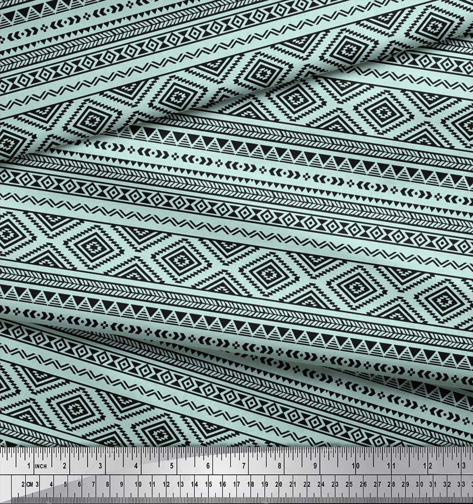 Soimoi-Green-Cotton-Poplin-Fabric-Aztec-Geometric-Printed-Craft-aCP thumbnail 4