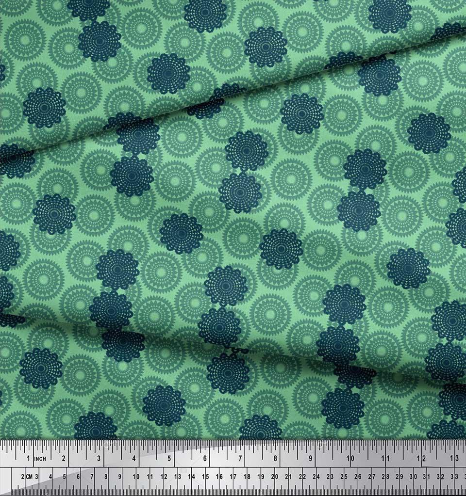 Soimoi-Green-Cotton-Poplin-Fabric-Mandala-Geometric-Print-Fabric-A0z thumbnail 3