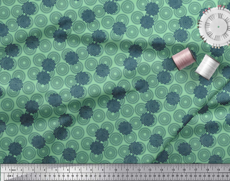 Soimoi-Green-Cotton-Poplin-Fabric-Mandala-Geometric-Print-Fabric-A0z thumbnail 4