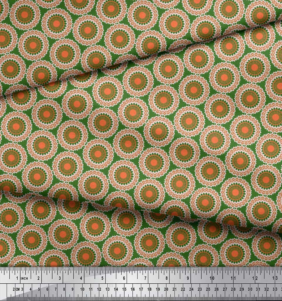 Soimoi-Green-Cotton-Poplin-Fabric-Mandala-Geometric-Fabric-Prints-pPz thumbnail 3
