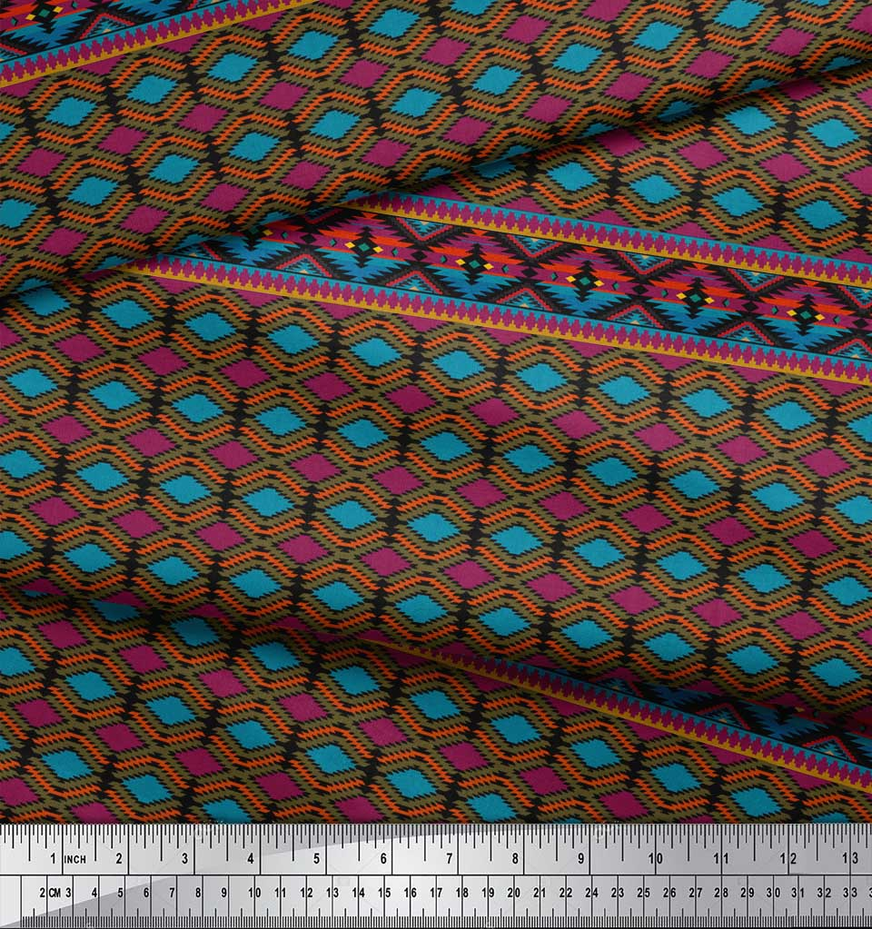 Soimoi-Black-Cotton-Poplin-Fabric-Aztec-Geometric-Print-Fabric-by-KJD thumbnail 4