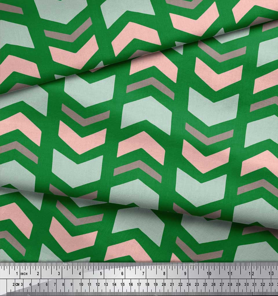 Soimoi-Green-Cotton-Poplin-Fabric-Chevron-Geometric-Printed-Craft-cej thumbnail 3