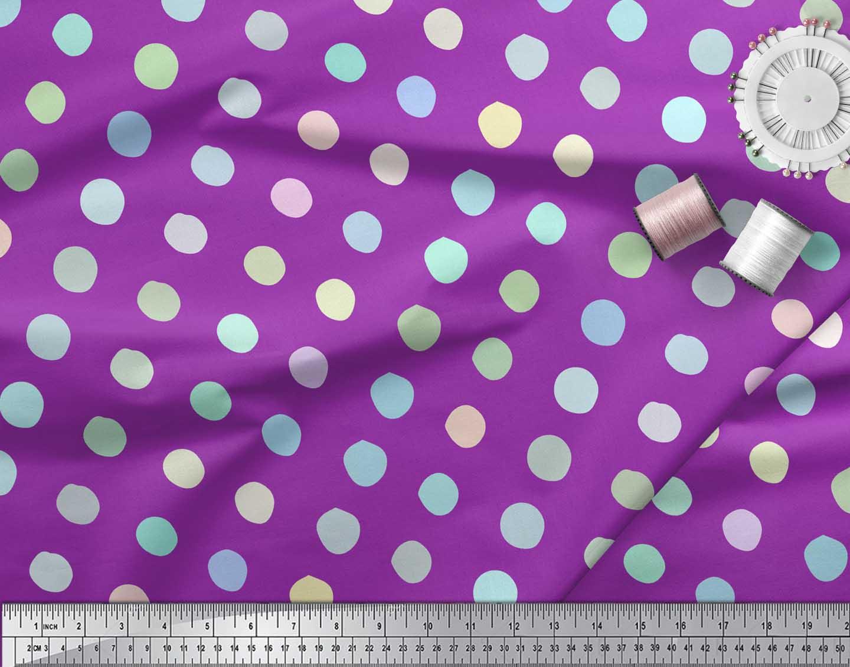 Soimoi-Purple-Cotton-Poplin-Fabric-Circle-Geometric-Fabric-Prints-p8W thumbnail 3