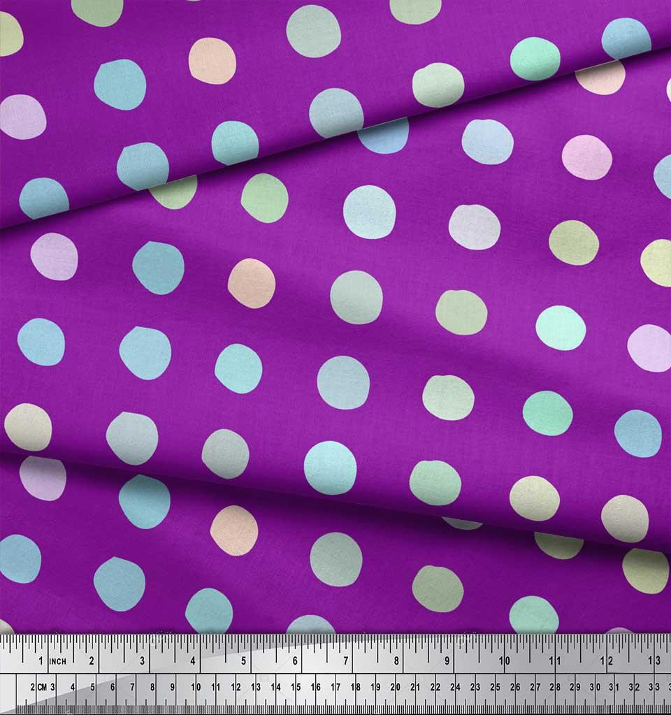 Soimoi-Purple-Cotton-Poplin-Fabric-Circle-Geometric-Fabric-Prints-p8W thumbnail 4