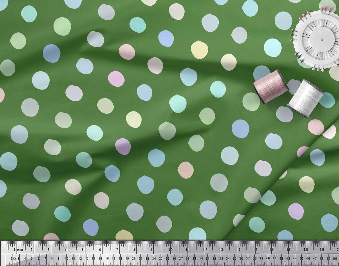 Soimoi-Green-Cotton-Poplin-Fabric-Circle-Geometric-Decor-Fabric-Lol thumbnail 3