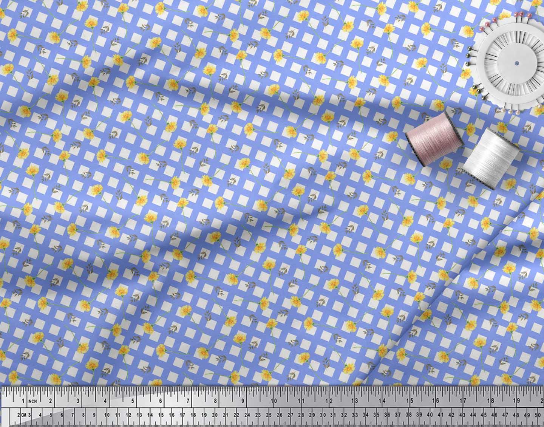 Soimoi-Blue-Cotton-Poplin-Fabric-Leaves-amp-Floral-Geometric-Print-KPY thumbnail 3