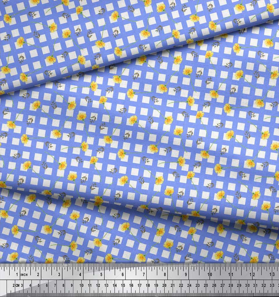 Soimoi-Blue-Cotton-Poplin-Fabric-Leaves-amp-Floral-Geometric-Print-KPY thumbnail 4