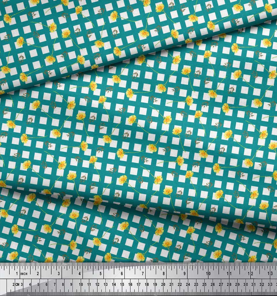 Soimoi-Green-Cotton-Poplin-Fabric-Leaves-amp-Floral-Geometric-Print-1On thumbnail 3