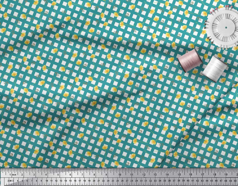 Soimoi-Green-Cotton-Poplin-Fabric-Leaves-amp-Floral-Geometric-Print-1On thumbnail 4
