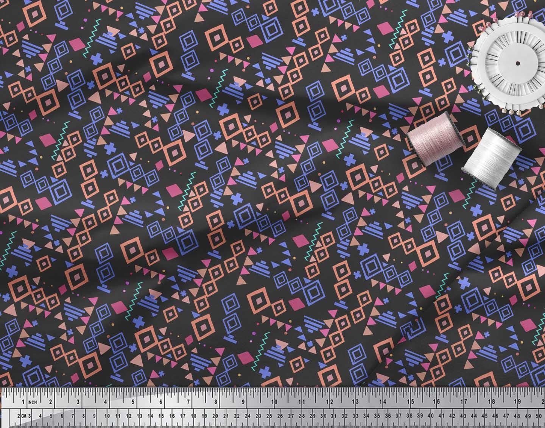 Soimoi-Black-Cotton-Poplin-Fabric-Diamond-Geometric-Printed-Craft-Zzr thumbnail 3