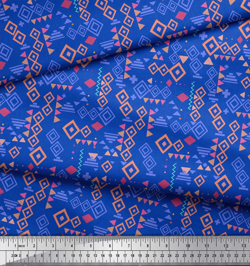 Soimoi-Blue-Cotton-Poplin-Fabric-Diamond-Geometric-Decor-Fabric-mG1 thumbnail 3