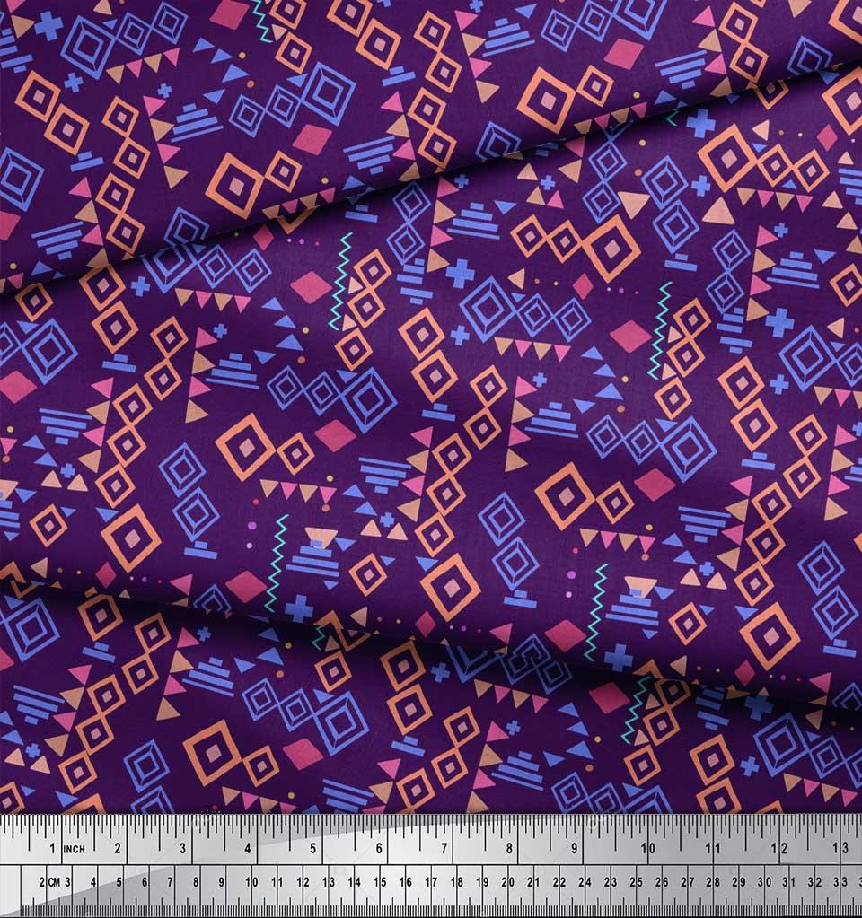 Soimoi-Purple-Cotton-Poplin-Fabric-Diamond-Geometric-Print-Fabric-oe1 thumbnail 3