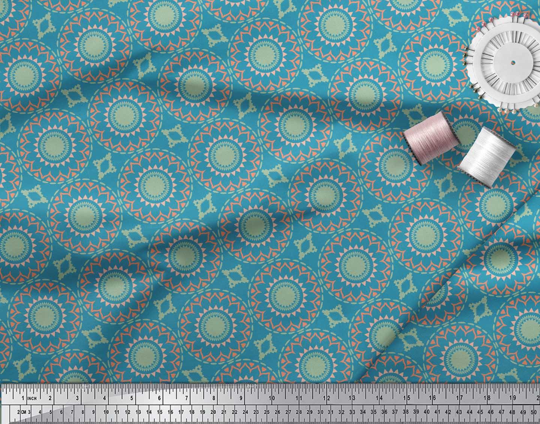 Soimoi-Blue-Cotton-Poplin-Fabric-Mandala-Geometric-Print-Fabric-UMh thumbnail 3
