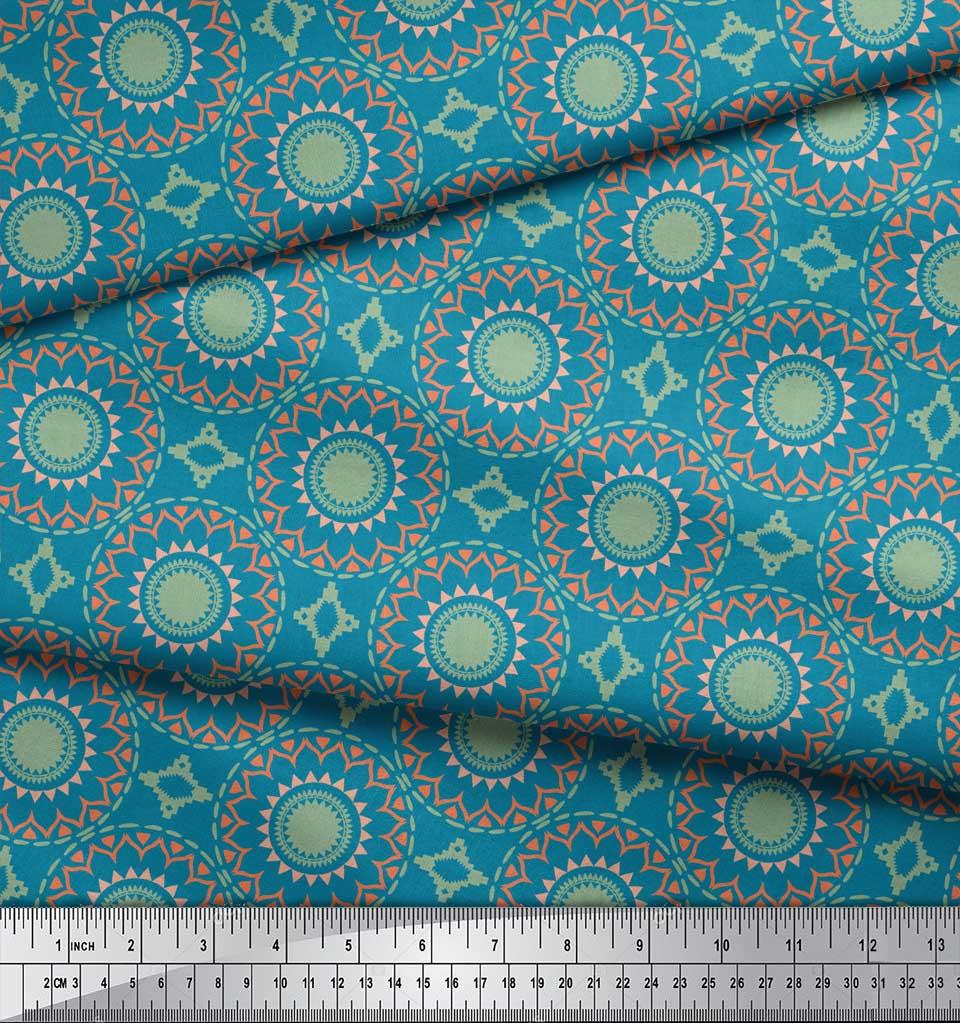 Soimoi-Blue-Cotton-Poplin-Fabric-Mandala-Geometric-Print-Fabric-UMh thumbnail 4