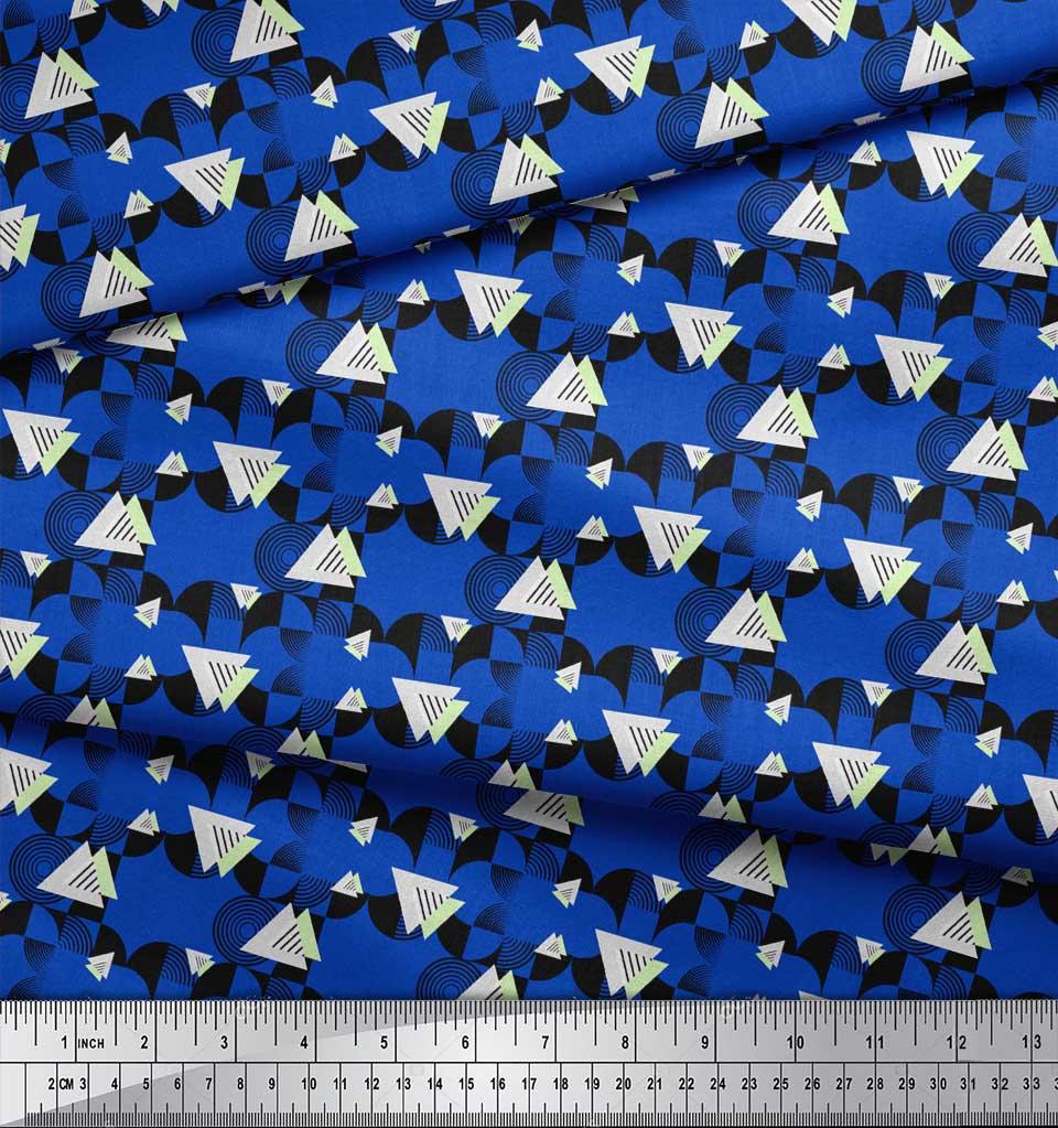 Soimoi-Blue-Cotton-Poplin-Fabric-Circle-amp-Triangle-Geometric-Printed-bvo thumbnail 3
