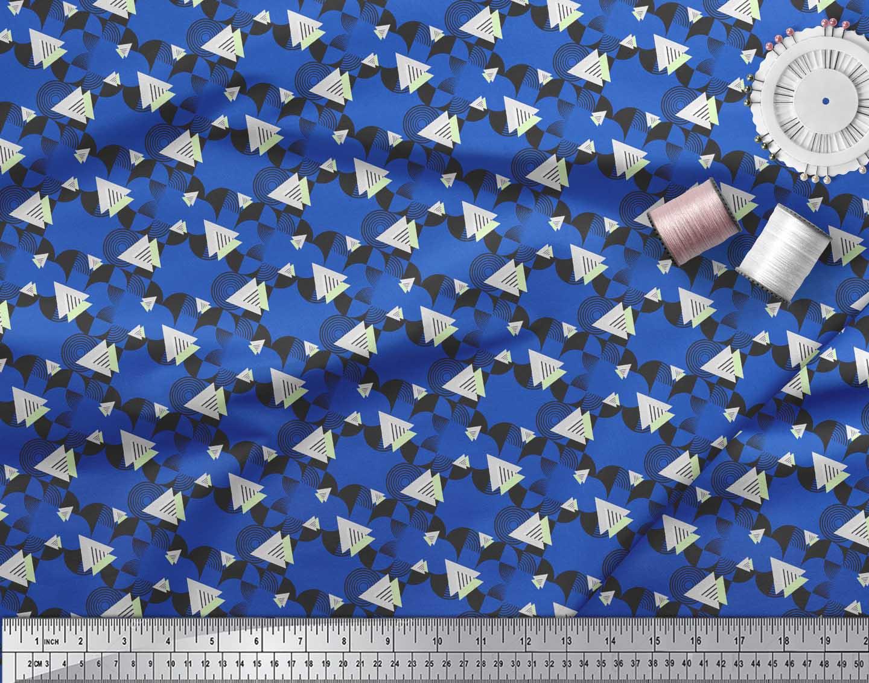 Soimoi-Blue-Cotton-Poplin-Fabric-Circle-amp-Triangle-Geometric-Printed-bvo thumbnail 4