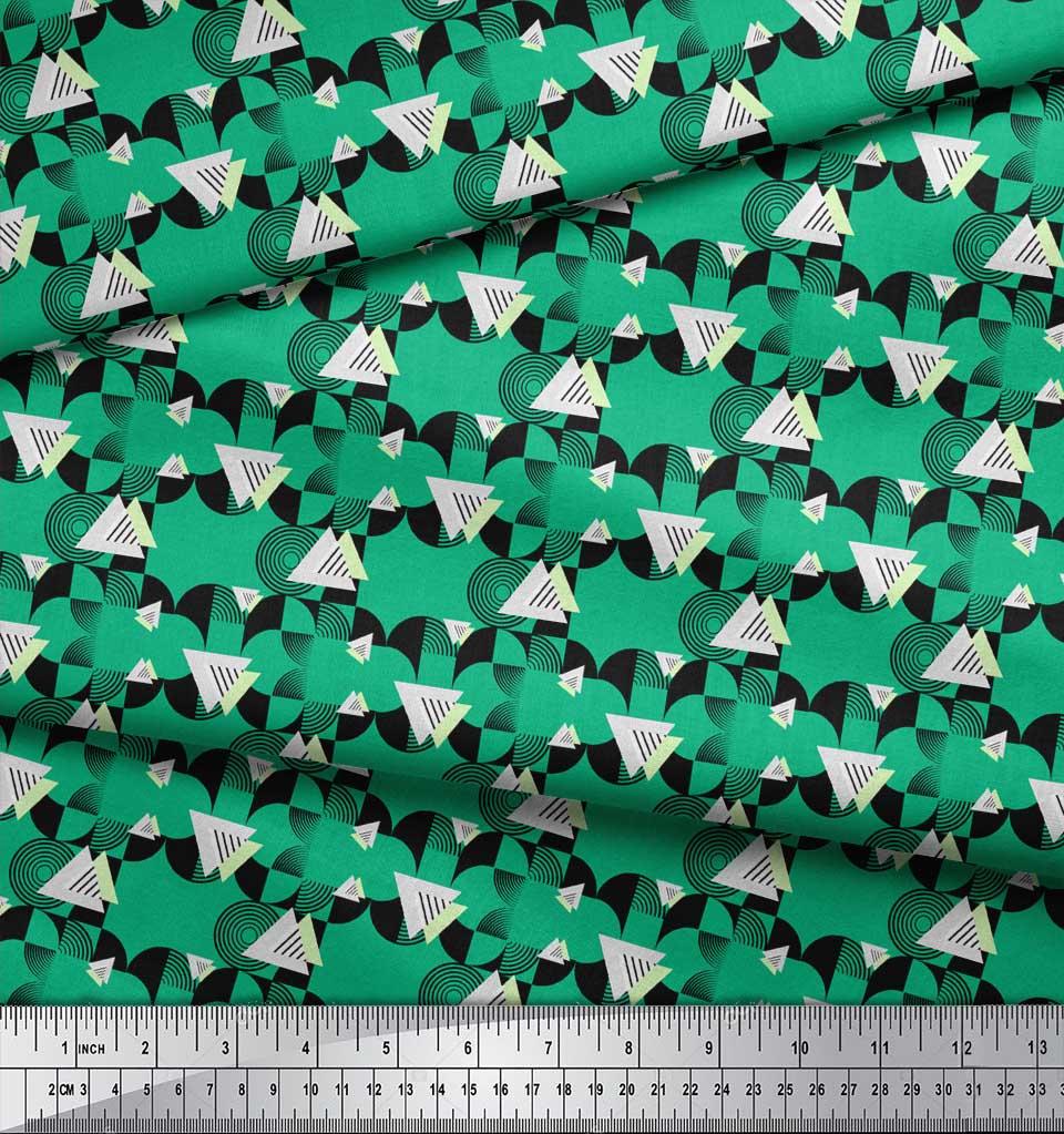 Soimoi-Green-Cotton-Poplin-Fabric-Circle-amp-Triangle-Geometric-Print-S3w thumbnail 3