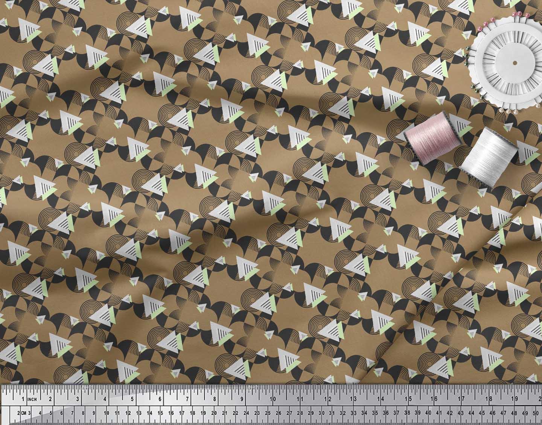 Soimoi-Brown-Cotton-Poplin-Fabric-Circle-amp-Triangle-Geometric-Printed-bON thumbnail 3