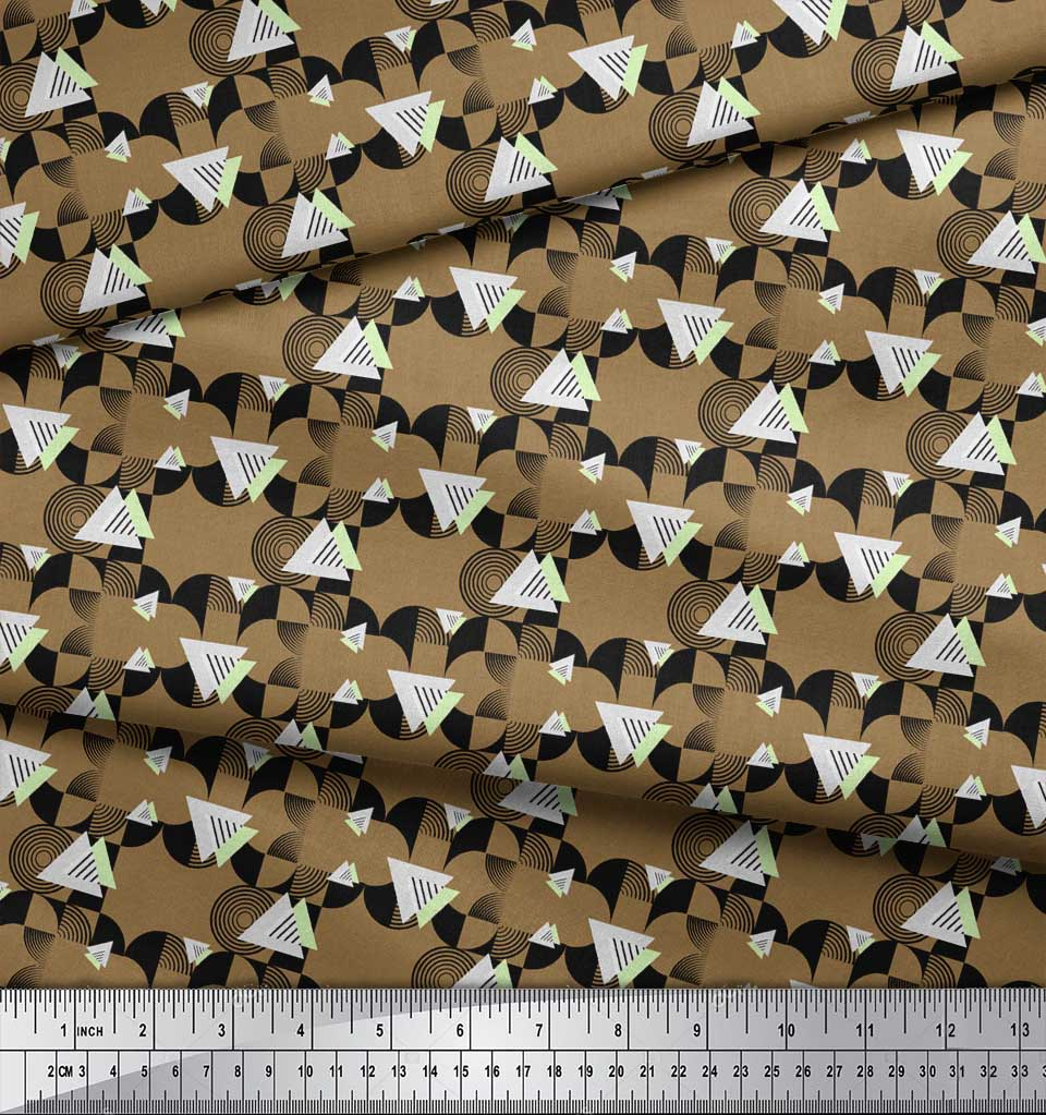 Soimoi-Brown-Cotton-Poplin-Fabric-Circle-amp-Triangle-Geometric-Printed-bON thumbnail 4