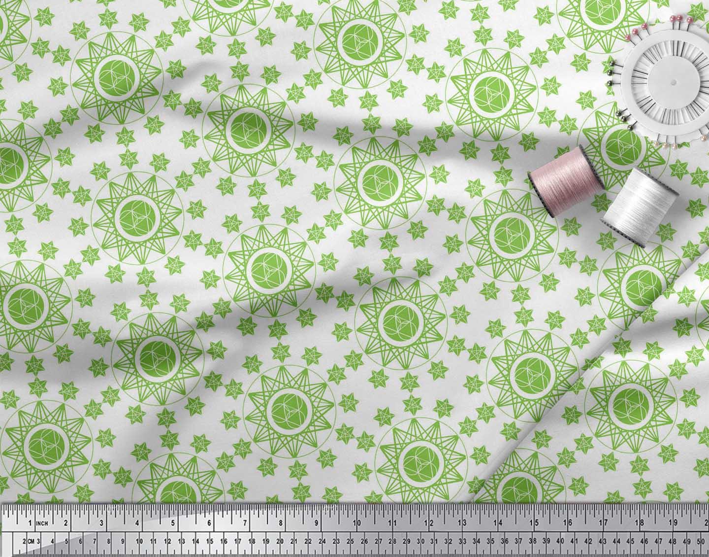 Soimoi-Green-Cotton-Poplin-Fabric-Geometrical-Star-Geometric-Fabric-4aR thumbnail 3
