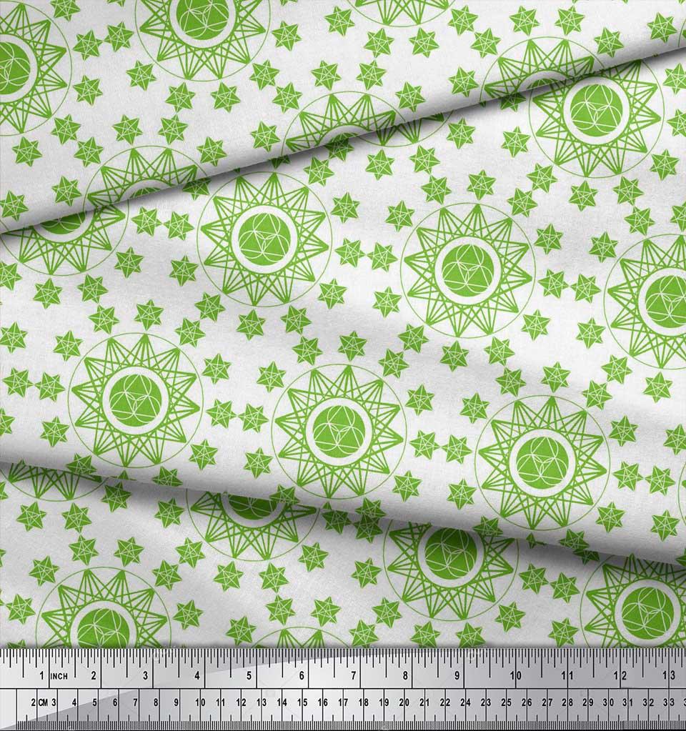 Soimoi-Green-Cotton-Poplin-Fabric-Geometrical-Star-Geometric-Fabric-4aR thumbnail 4