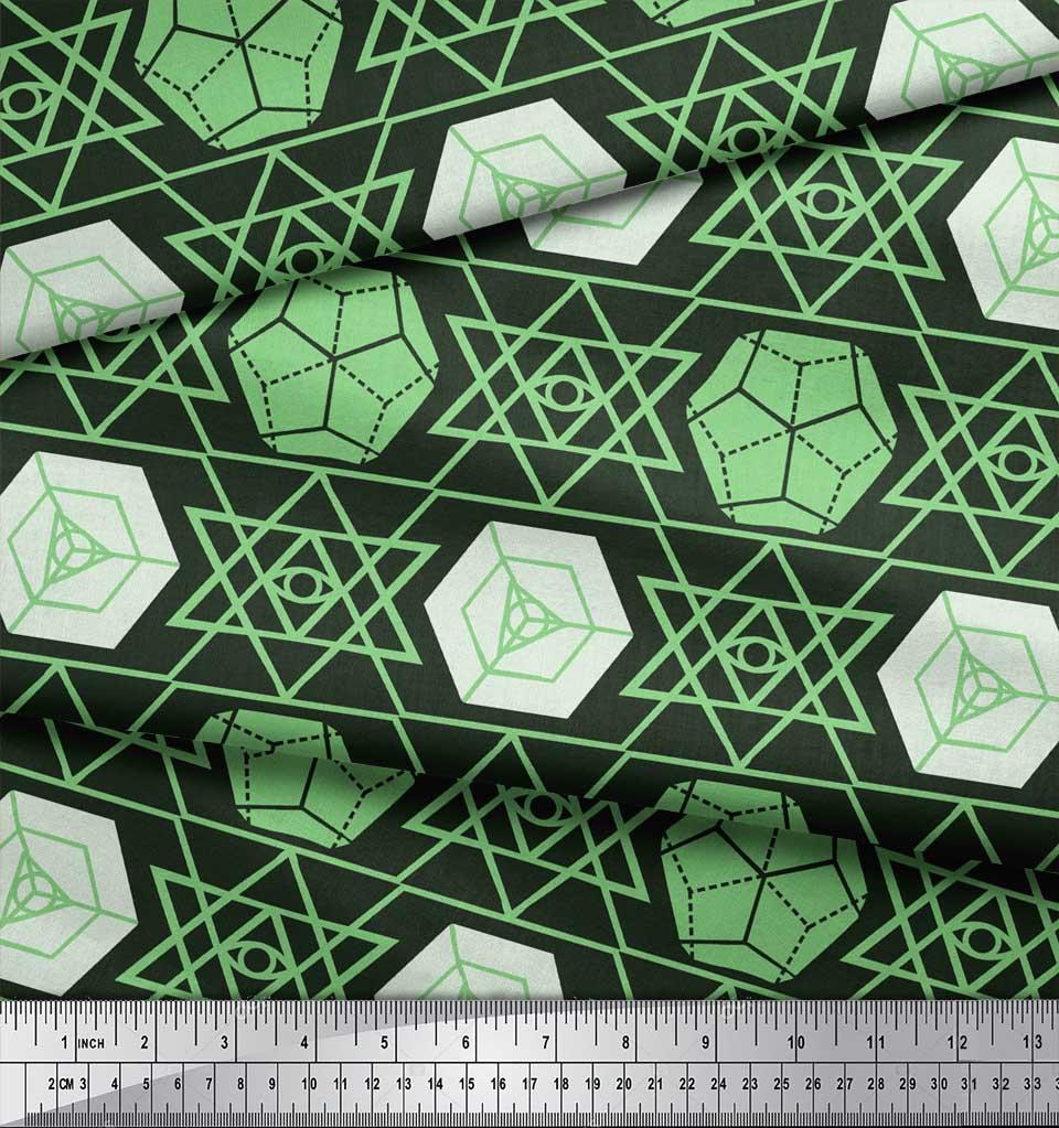 Soimoi-Green-Cotton-Poplin-Fabric-Geometrical-Star-Geometric-Print-6LK thumbnail 3