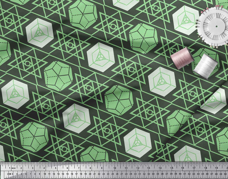 Soimoi-Green-Cotton-Poplin-Fabric-Geometrical-Star-Geometric-Print-6LK thumbnail 4