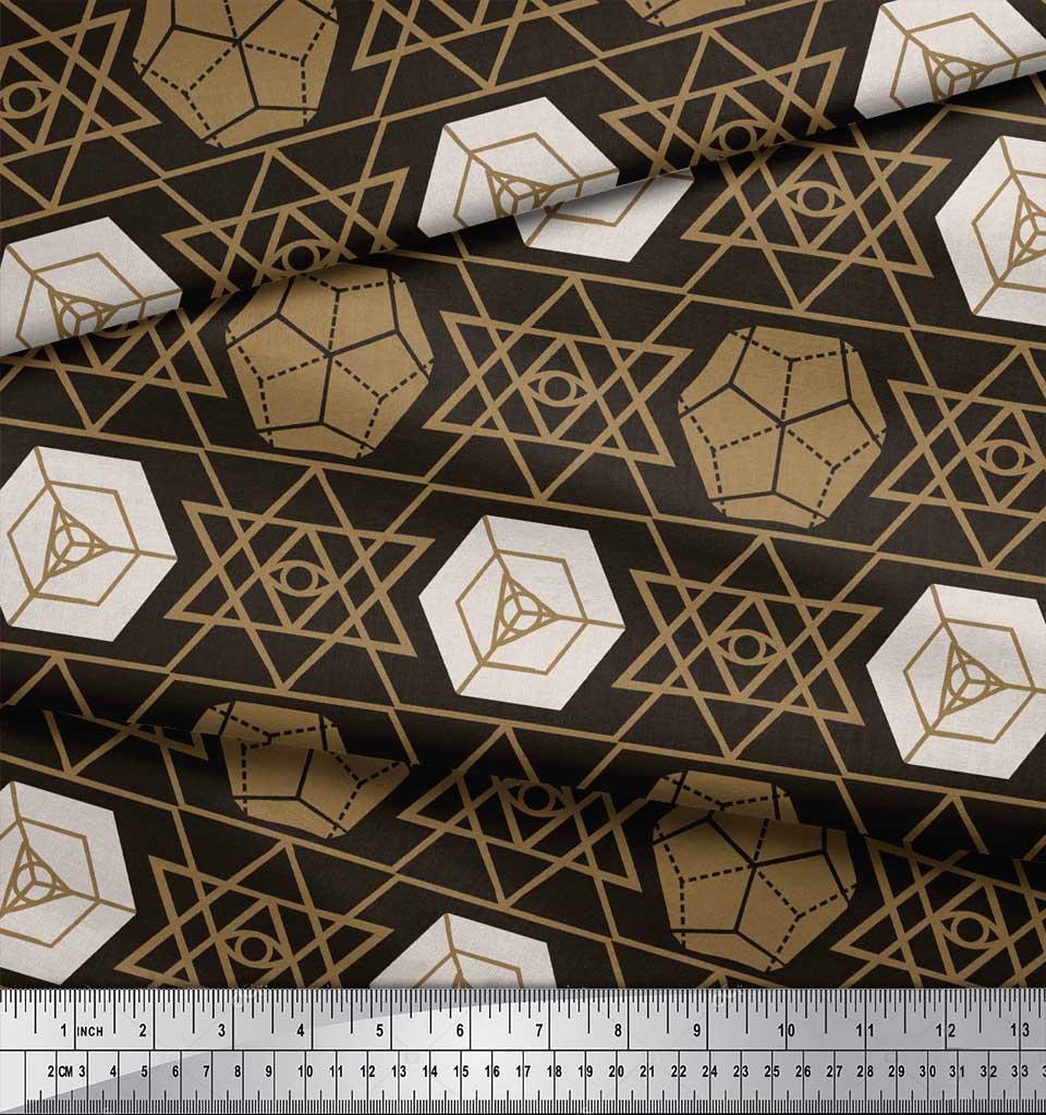 Soimoi-Brown-Cotton-Poplin-Fabric-Geometrical-Star-Geometric-Printed-g3t thumbnail 3