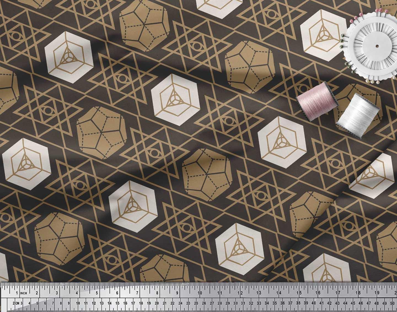 Soimoi-Brown-Cotton-Poplin-Fabric-Geometrical-Star-Geometric-Printed-g3t thumbnail 4